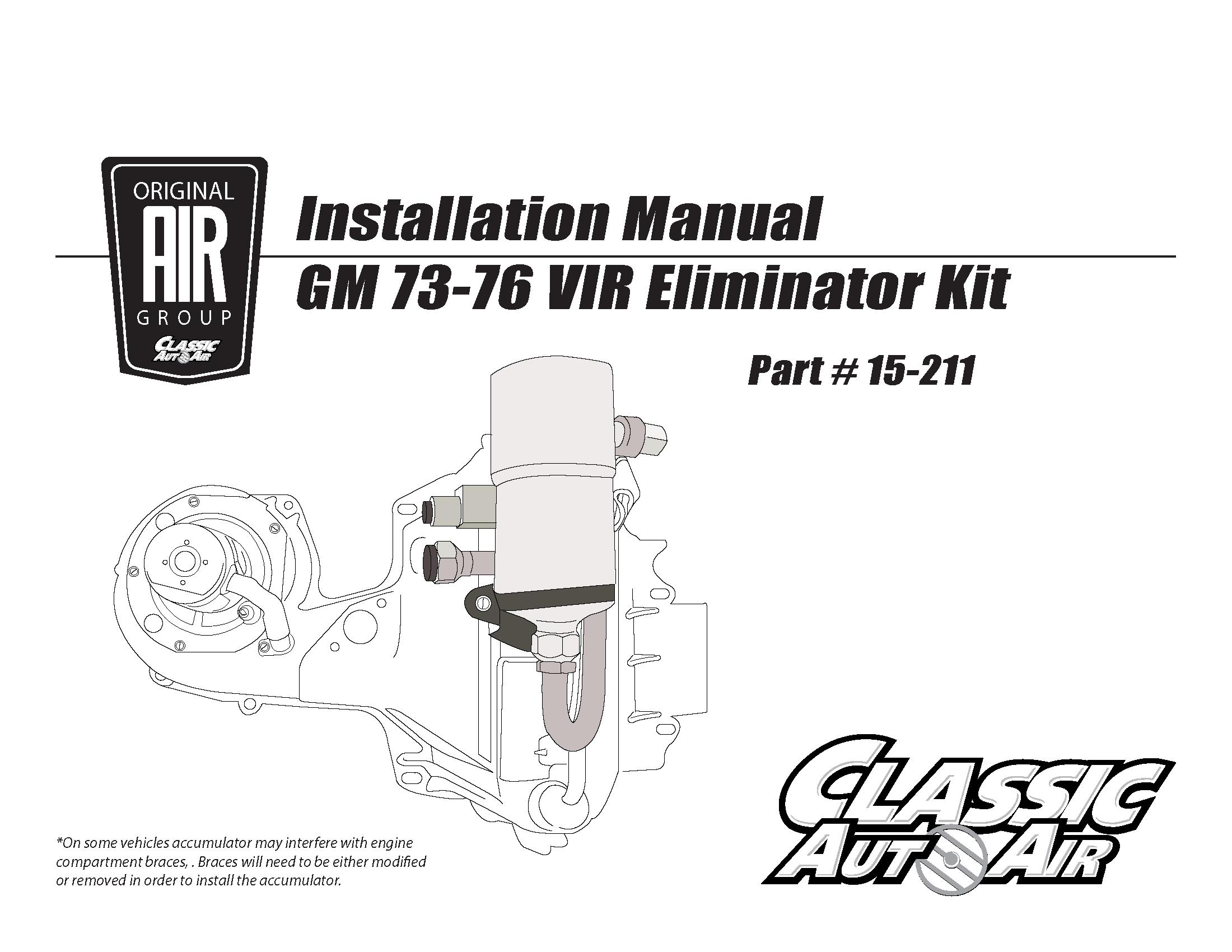 73-76 GM A/C VIR Eliminator Kit   Original Air Group