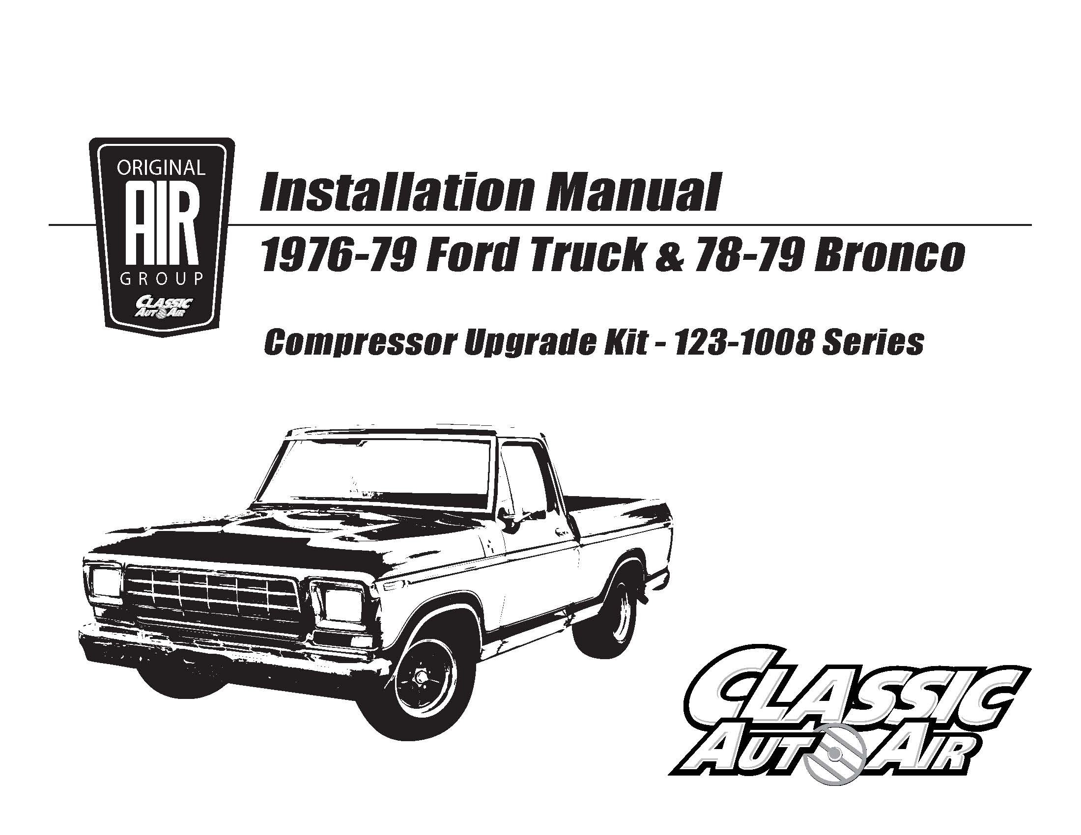 76-79 F-Series Truck/78-79 Bronco AC Compressor Kit V8 STAGE