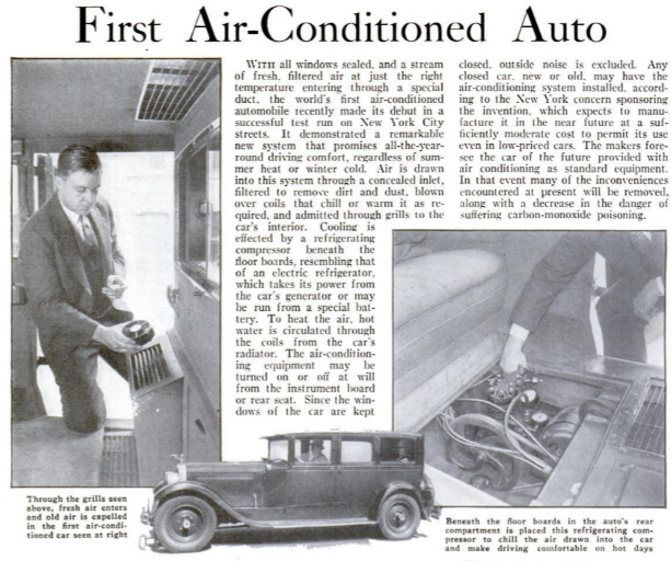 first automobile with ac